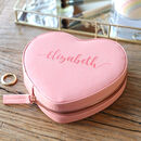 Personalised Name Heart Travel Jewellery Case