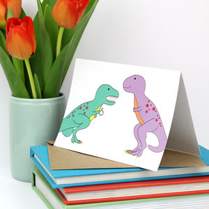 Dinosaur Engagement Greeting Card - engagement cards