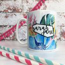 Personalised Botanical Palms And Tropical Flowers Mug