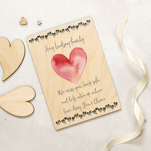 Personalised Wooden Card Sending Love