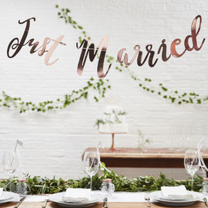 Rose Gold Script Font Just Married Wedding Bunting - outdoor decorations