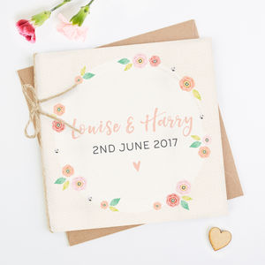 Bright Floral Folded Square Invite - engagement & wedding invitations