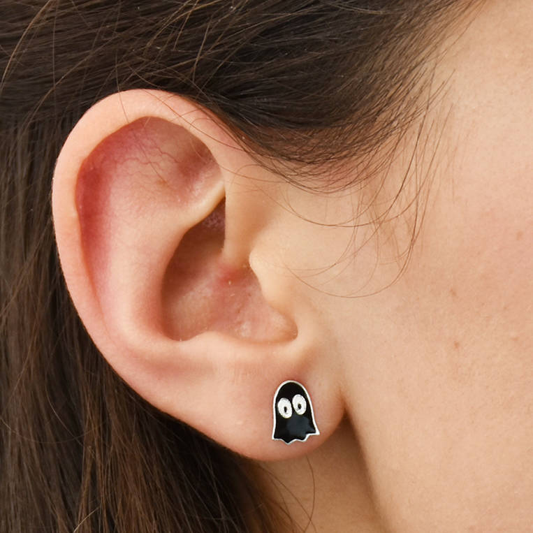 Black Ghost Halloween Sterling Silver Stud Earrings