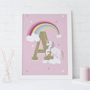 Personalised Unicorn Childs Initial Print