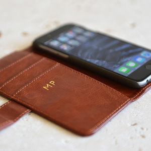 Luxury Personalised iPhone Case In Black Or Brown - gifts for him