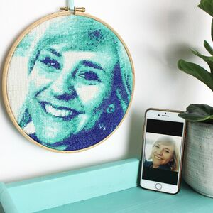 Teal Custom Portrait Cross Stitch Personalised