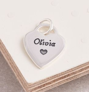 Personalised Silver Heart Tag Charm - charm jewellery