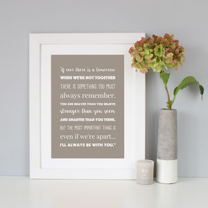 'I'll Always Be With You' Winnie The Pooh Print - typography