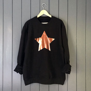Metallic Copper Star Slouchy Sweatshirt