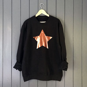 Metallic Copper Star Slouchy Sweatshirt - sweatshirts & hoodies