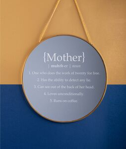 Personalised 'Definition Of Mother' Round Mirror