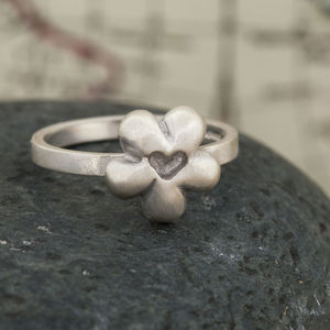 Silver Flower Heart Ring - rings