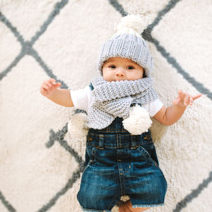 Knit Your Own Kid's Snowdrops Hat + Scarf Kit - 'love the stitch' collection
