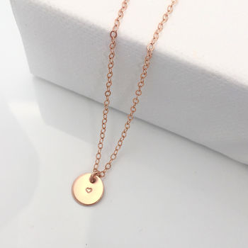 Tiny Rose Gold Initial Disc Necklace