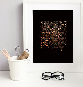 'Love Is Golden' Rose Gold Foil Print