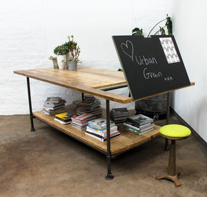 Lucy Large Reclaimed Timber Chalkboard Drafting Table - dining tables