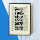 'Life Moves Pretty Fast' Book Page Print