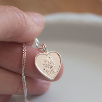 Heart St Christopher Necklace