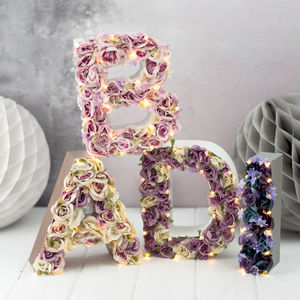 Handmade Flower Letter Light - pretty pastels