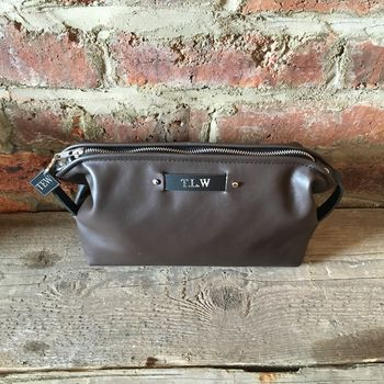 Handmade Toiletry Bag In Chocolate Brown Leather