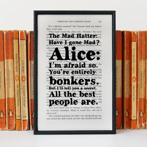 Alice In Wonderland Mad Hatter 'Bonkers' Book Print - posters & prints