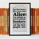 Alice In Wonderland Mad Hatter 'Bonkers' Book Print