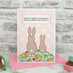 'Bunnies' Personalised First Mother's Day Card