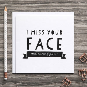 'I Miss Your Face' Friendship And Anniversary Card - valentine's cards