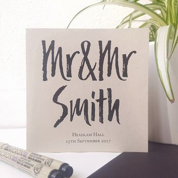 Mr And Mrs | Personalised Wedding Card | Recycled Card