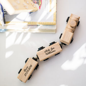 Personalised New Baby Keepsake Wooden Train
