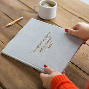 Luxury Velvet Personalised Quote And Name Notebook - gifts for friends