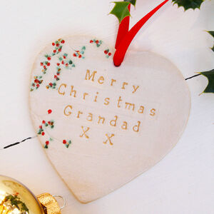 Merry Christmas Grandad Ceramic Heart