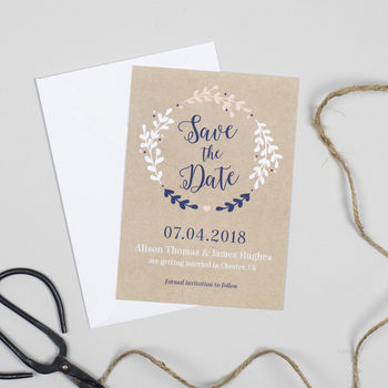 Wreath 'Hannah' Wedding Save The Date Card
