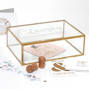 Personalised Extra Large Glass Wedding Card Box