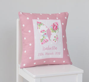 Personalised Sprig Print Butterfly Cushion