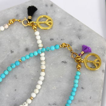 Children's Stone Bracelet With Gold Peace Charm
