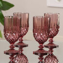 Set Of Four Amethyst Diamond Wine Goblets