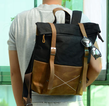 Waxed Canvas Backpack With Vintage Leather Detail