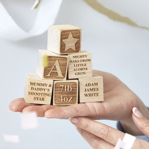 Personalised Baby Keepsake Building Block - christening gifts