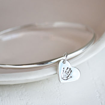 Silver Handprint Or Footprint Charm Bangle