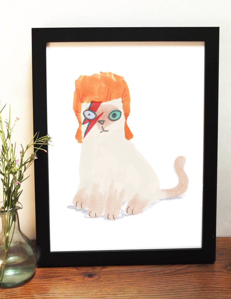 8079d18a4f3 david bowie giclee print cat illustration by jo clark design ...