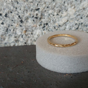 Gold Hammered Wedding Ring In Fairtrade Gold