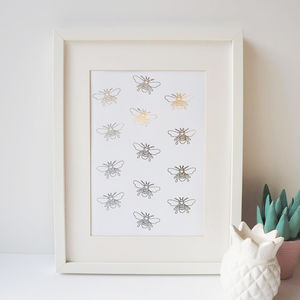 Gold Foil Bee Print - drawings & illustrations