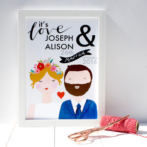 Personalised Couple Wedding Print - 100 best wedding prints