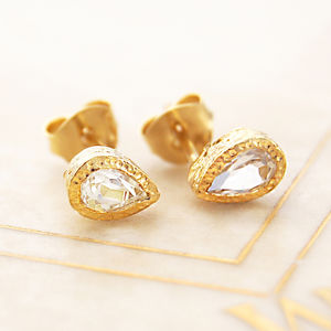 Faceted White Topaz Teardrop Gold Stud Earrings - women's jewellery
