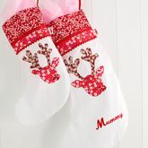 Personalised Reindeer Girl Christmas Stocking - christmas decorations