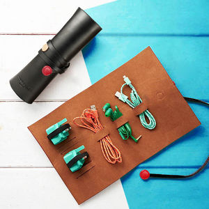 Leather Cable Wrap - men's travel gifts