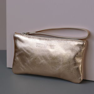 Metallic Leather Purse With Satin Lining