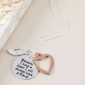 'Because I Have A Sister' Meaningful Words Necklace