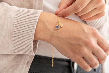 Gold Plated Zodiac And Birthstone Bracelet